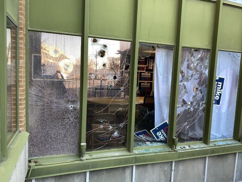 Bloomberg office in Salt Lake City, broken windows